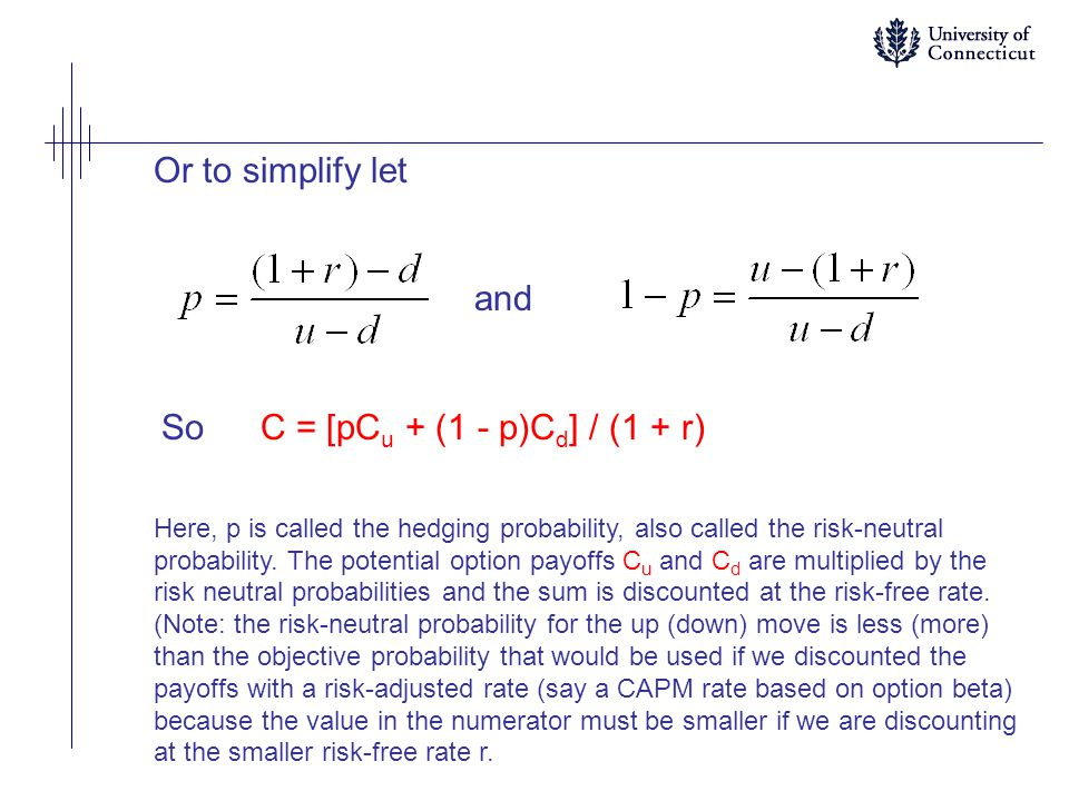 Or to simplify let and So C = [pCu + (1 - p)Cd] / (1 + r)